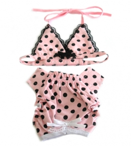 ... black and white polka dot dog bra toy with a bright red bow for your K9 ...